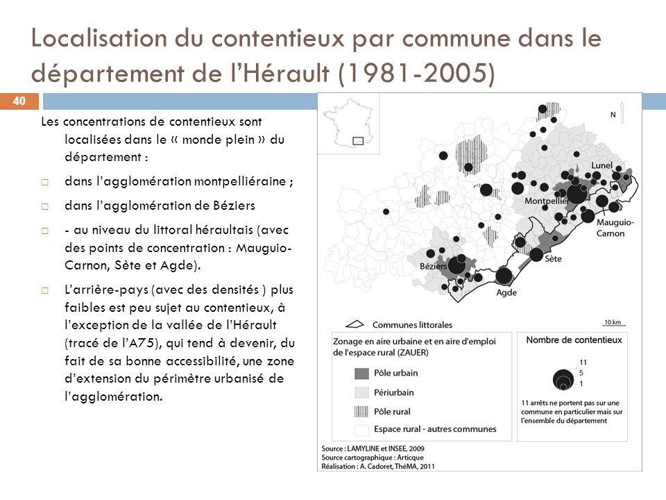 Localisation du contentieux par commune dans le département de l'Hérault (1981-2005)