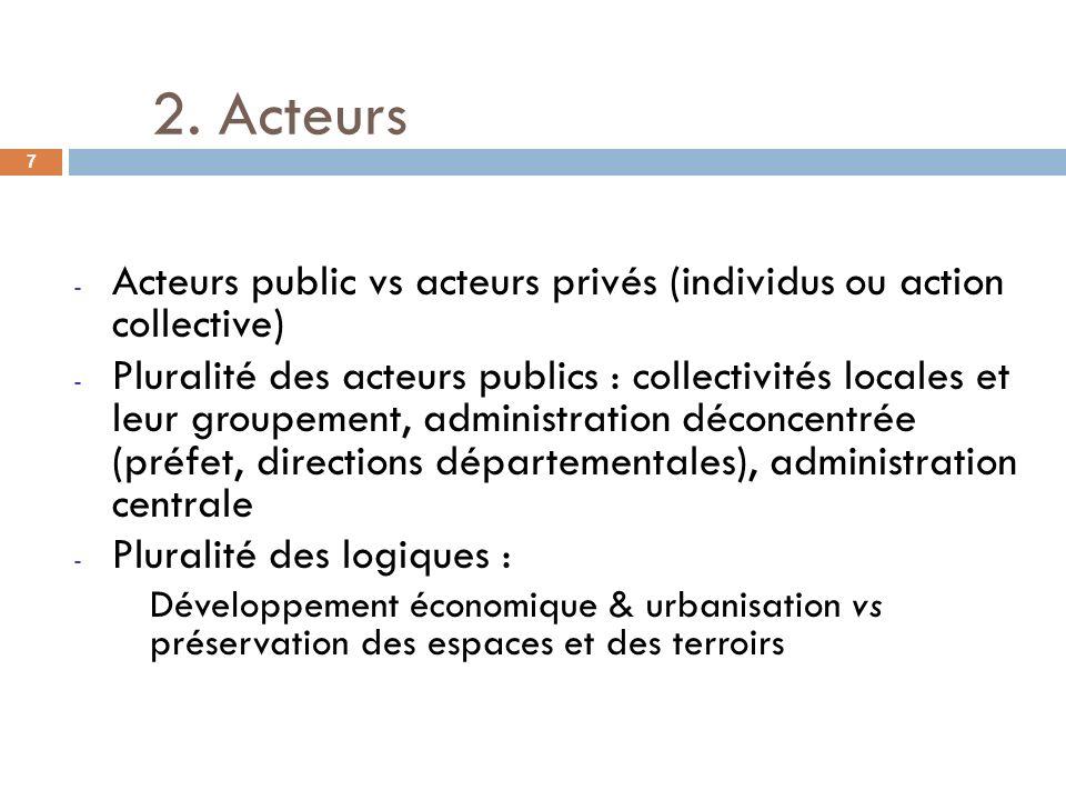 2. Acteurs Acteurs public vs acteurs privés (individus ou action collective)