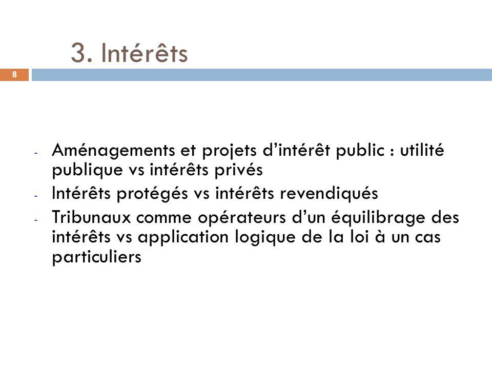 3. Intérêts Aménagements et projets d'intérêt public : utilité publique vs intérêts privés. Intérêts protégés vs intérêts revendiqués.