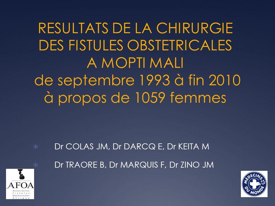 RESULTATS DE LA CHIRURGIE DES FISTULES OBSTETRICALES A MOPTI MALI de septembre 1993 à fin 2010 à propos de 1059 femmes