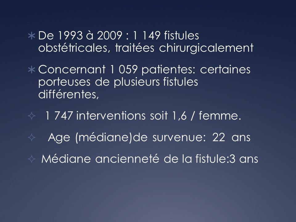 De 1993 à 2009 : 1 149 fistules obstétricales, traitées chirurgicalement
