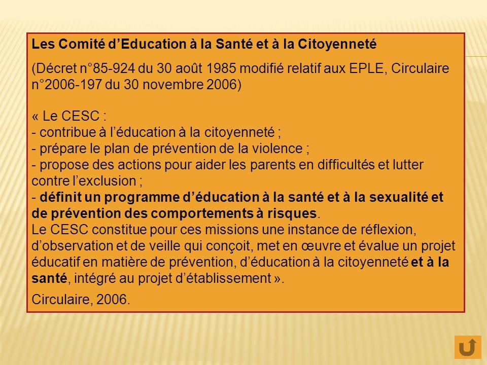 Les Comité d'Education à la Santé et à la Citoyenneté
