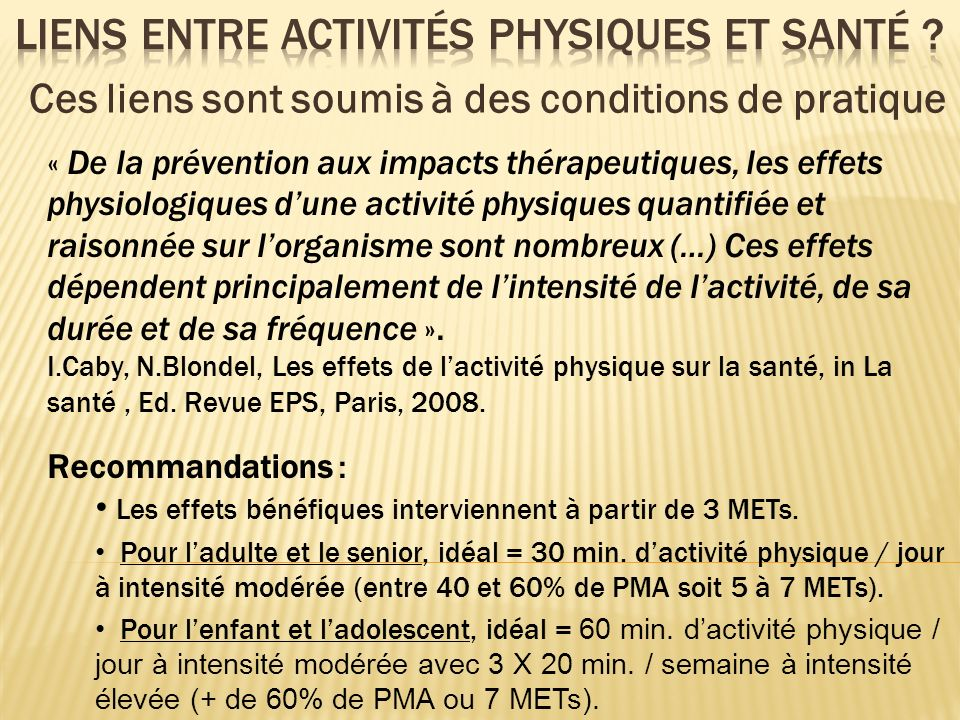 Liens entre activités physiques et santé