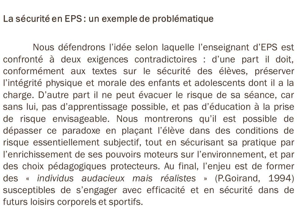 La sécurité en EPS : un exemple de problématique