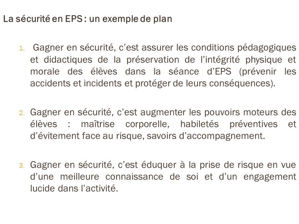 La sécurité en EPS : un exemple de plan