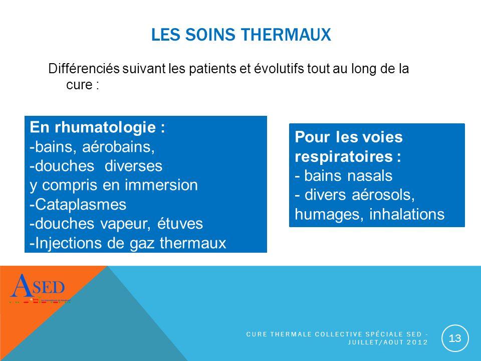 LES SOINS THERMAUX En rhumatologie : bains, aérobains,
