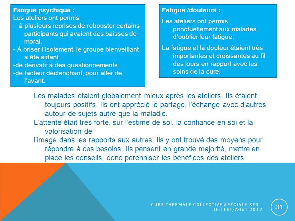 Fatigue psychique : Les ateliers ont permis. - à plusieurs reprises de rebooster certains participants qui avaient des baisses de moral.