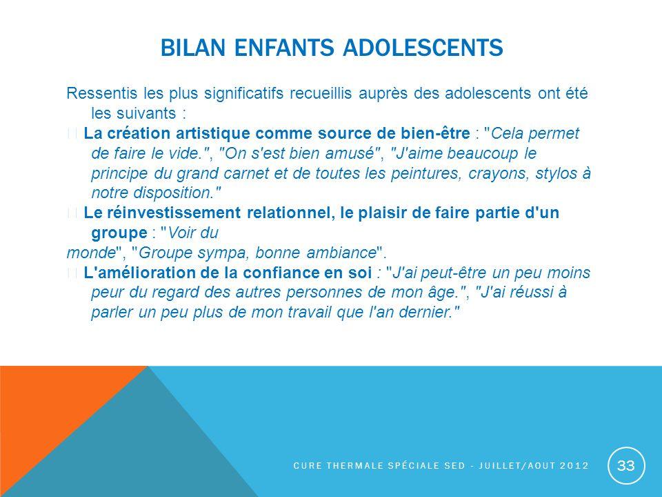 Bilan enfants adolescents