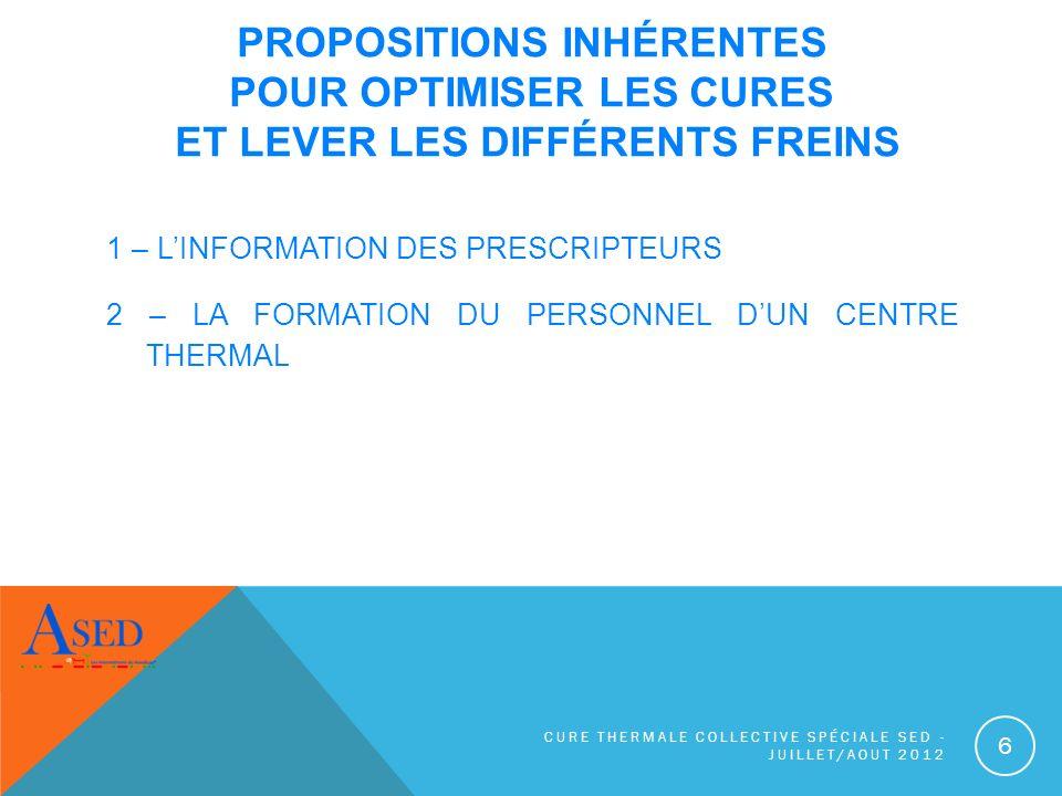 Propositions inhérentes pour optimiser les cures et lever les différents freins