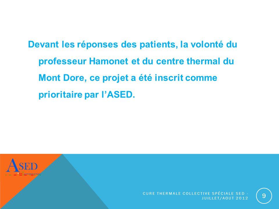 Devant les réponses des patients, la volonté du professeur Hamonet et du centre thermal du Mont Dore, ce projet a été inscrit comme prioritaire par l'ASED.