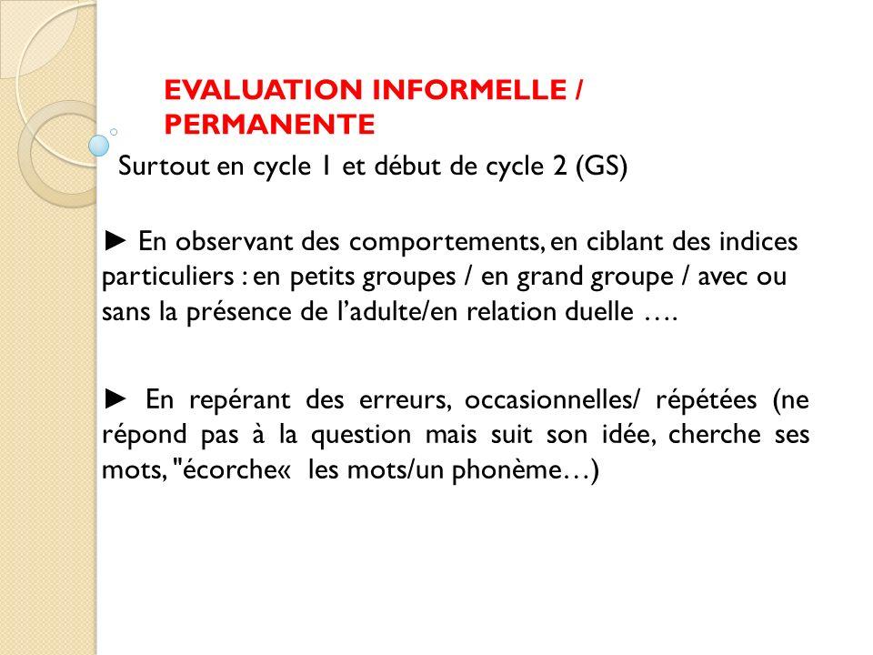 EVALUATION INFORMELLE / PERMANENTE