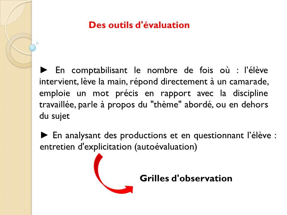Des outils d évaluation