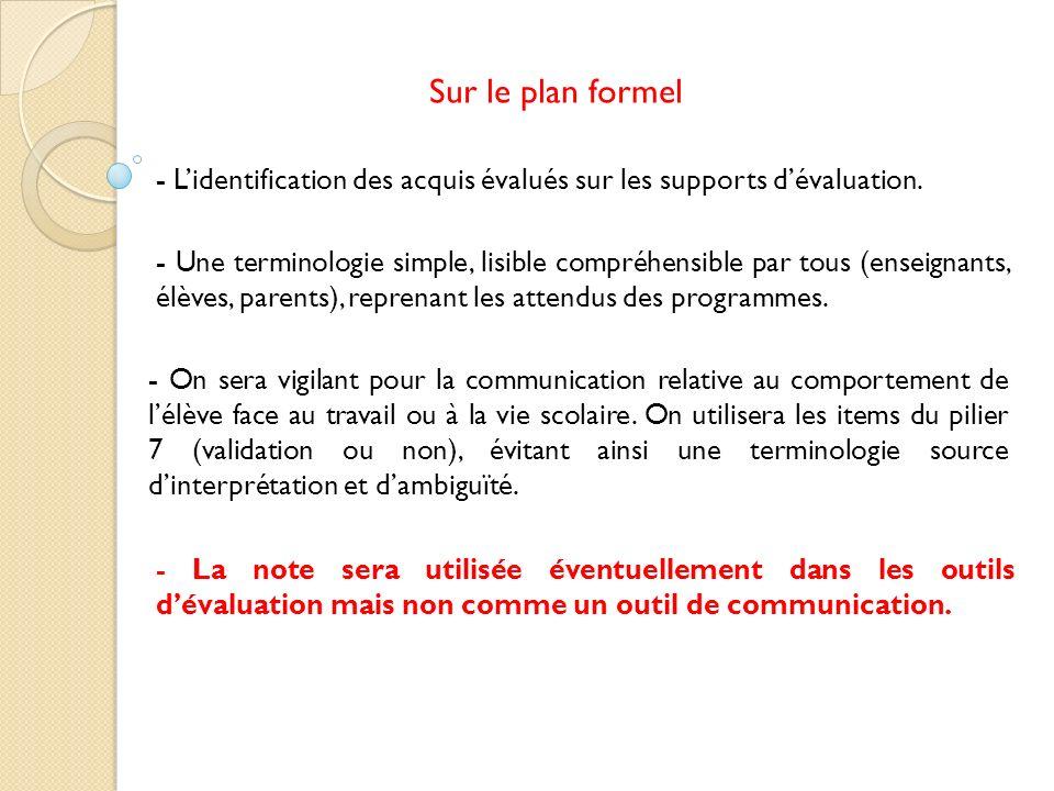 Sur le plan formel - L'identification des acquis évalués sur les supports d'évaluation.