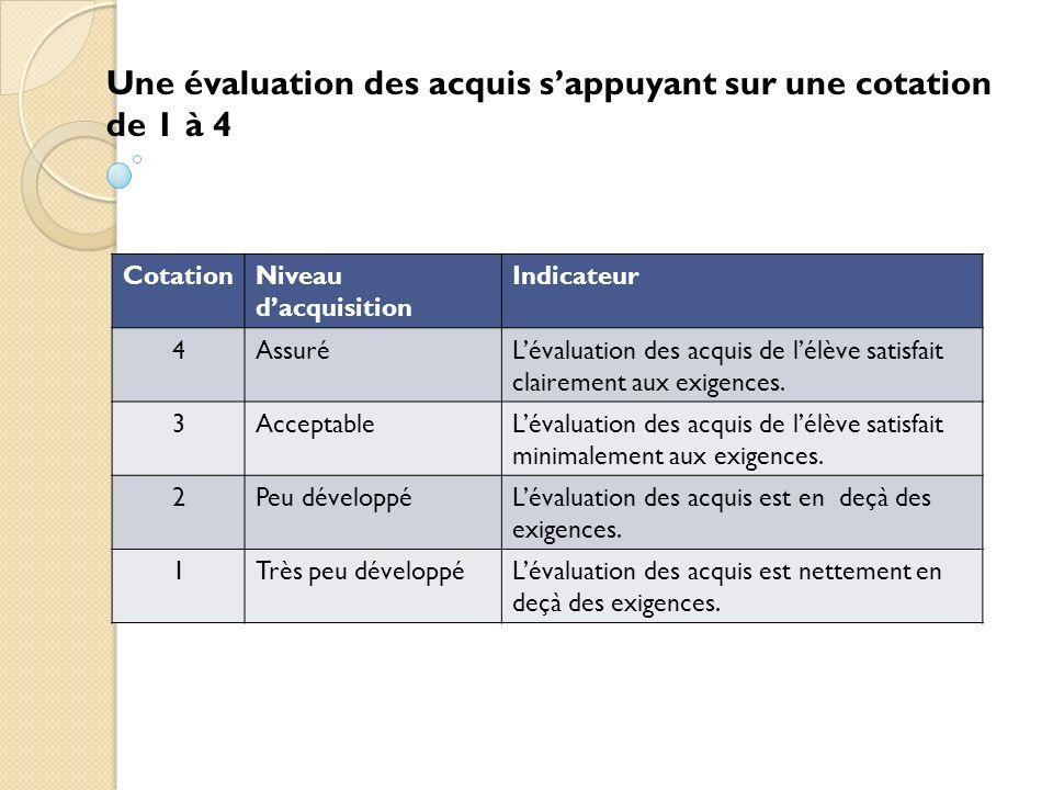 Une évaluation des acquis s'appuyant sur une cotation de 1 à 4