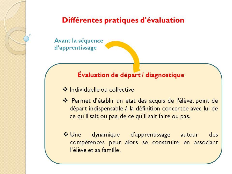 Différentes pratiques d évaluation