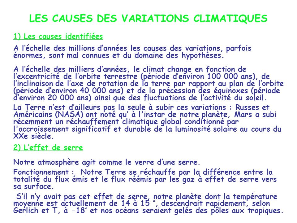 LES CAUSES DES VARIATIONS CLIMATIQUES