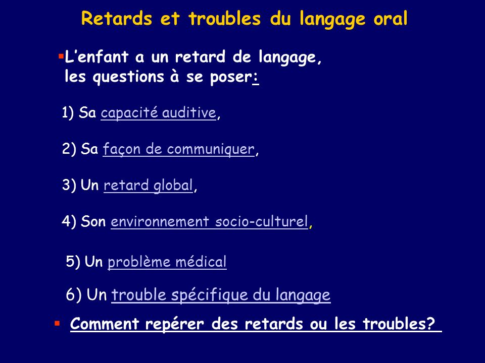 Retards et troubles du langage oral