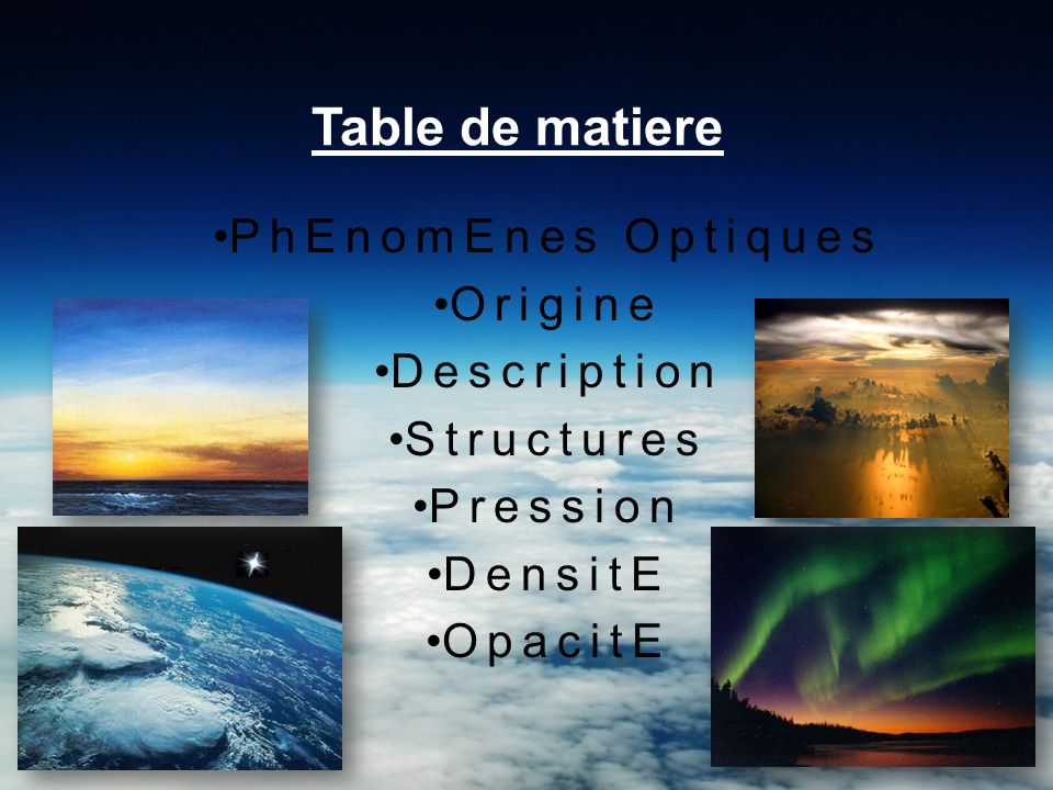 Table de matiere PhEnomEnes Optiques Origine Description Structures