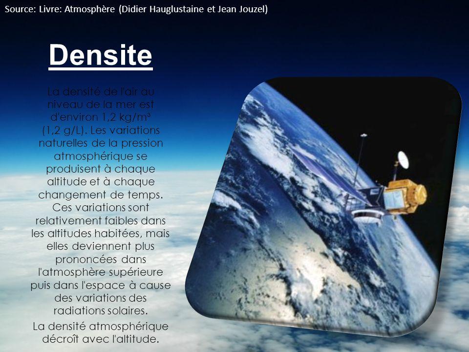 La densité atmosphérique décroît avec l altitude.