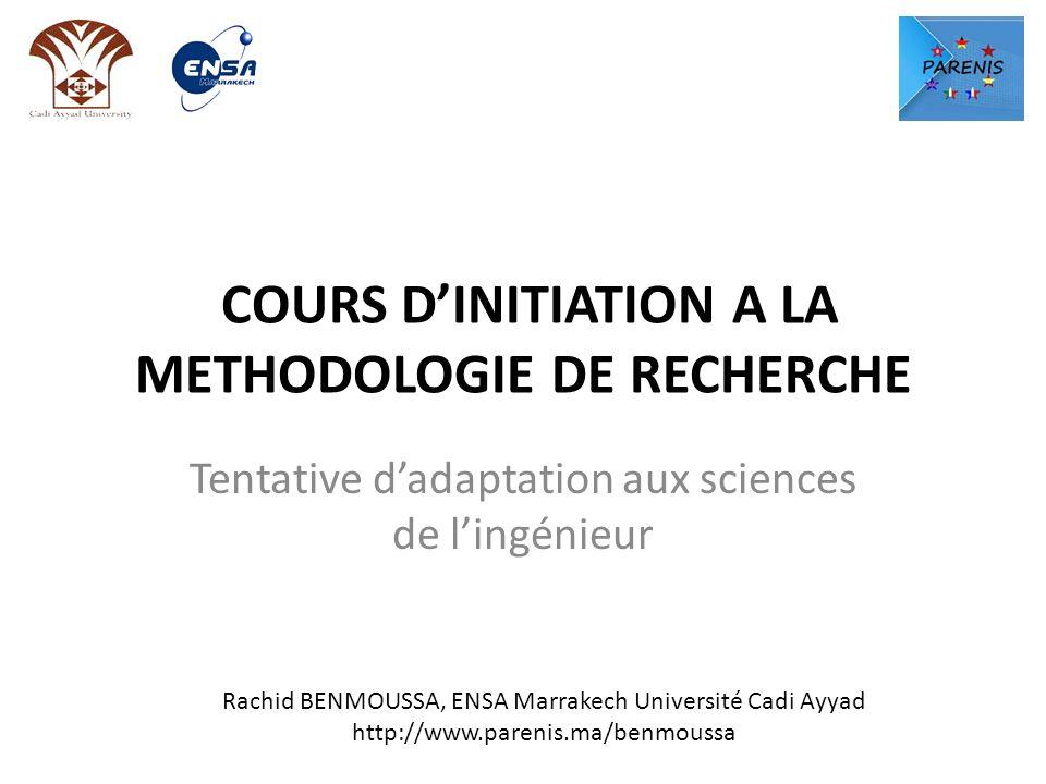 COURS D'INITIATION A LA METHODOLOGIE DE RECHERCHE