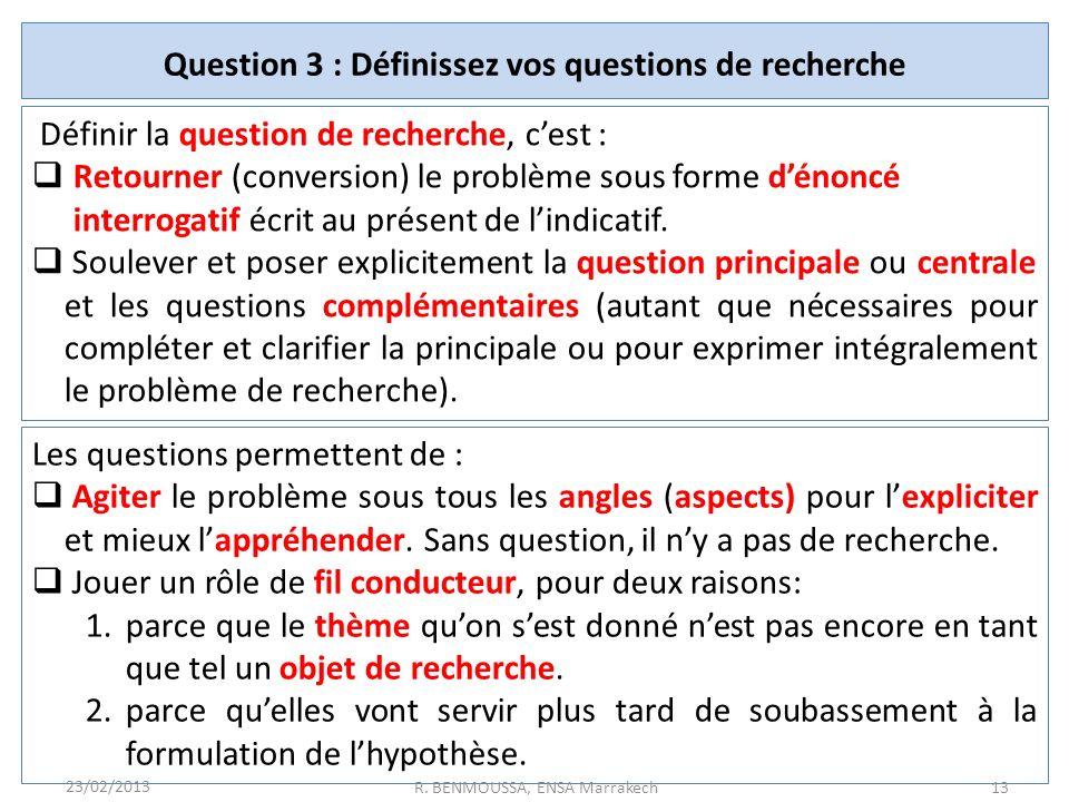Question 3 : Définissez vos questions de recherche