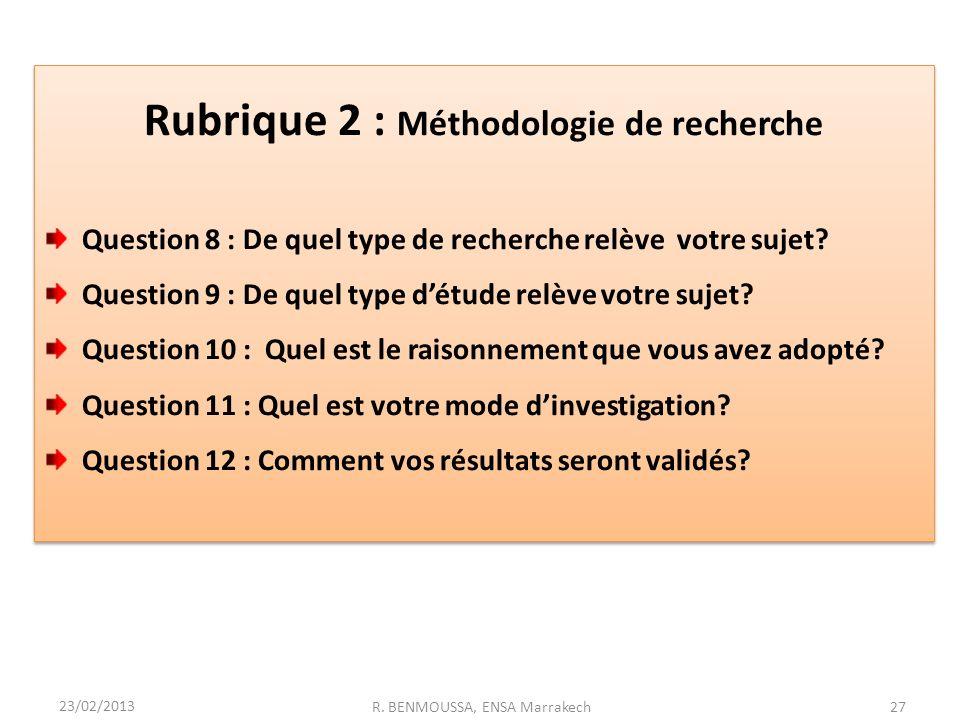 Rubrique 2 : Méthodologie de recherche