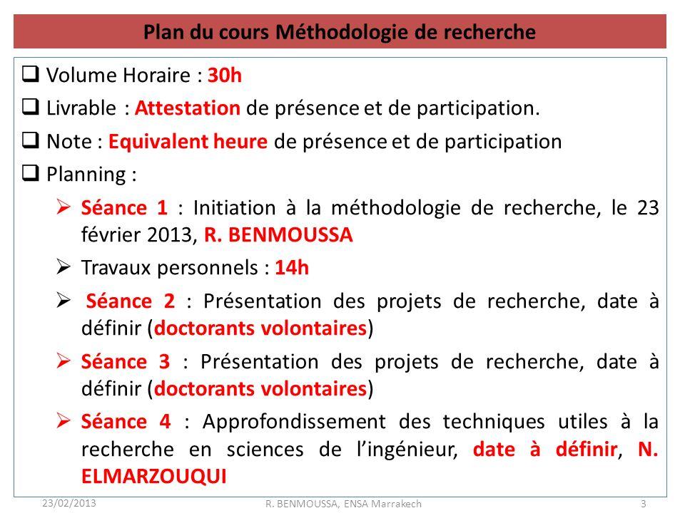 Plan du cours Méthodologie de recherche