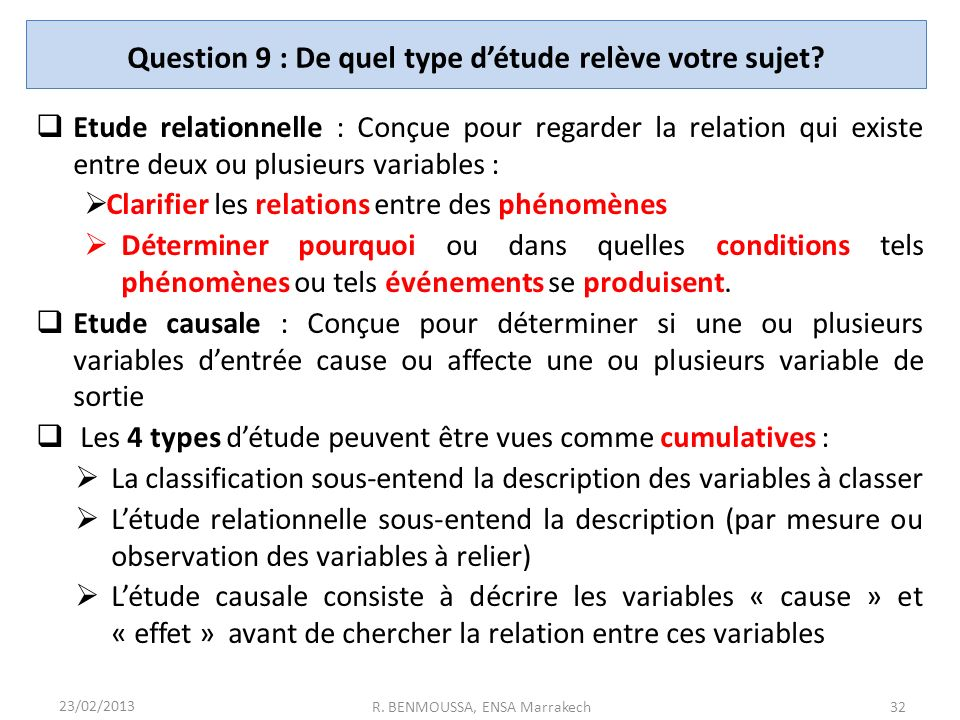 Question 9 : De quel type d'étude relève votre sujet