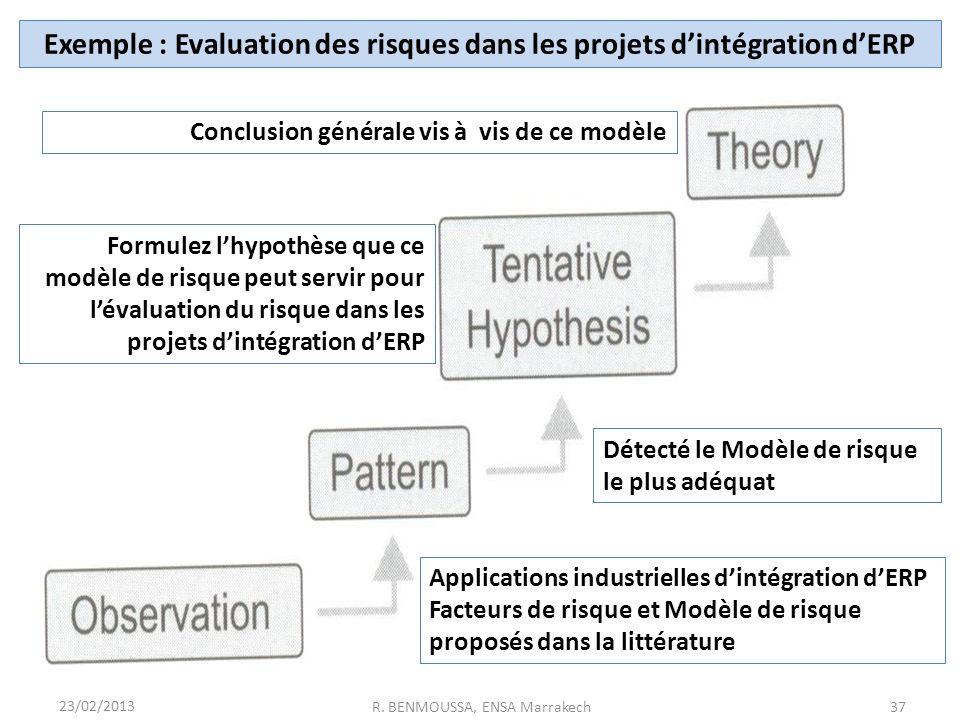 Exemple : Evaluation des risques dans les projets d'intégration d'ERP