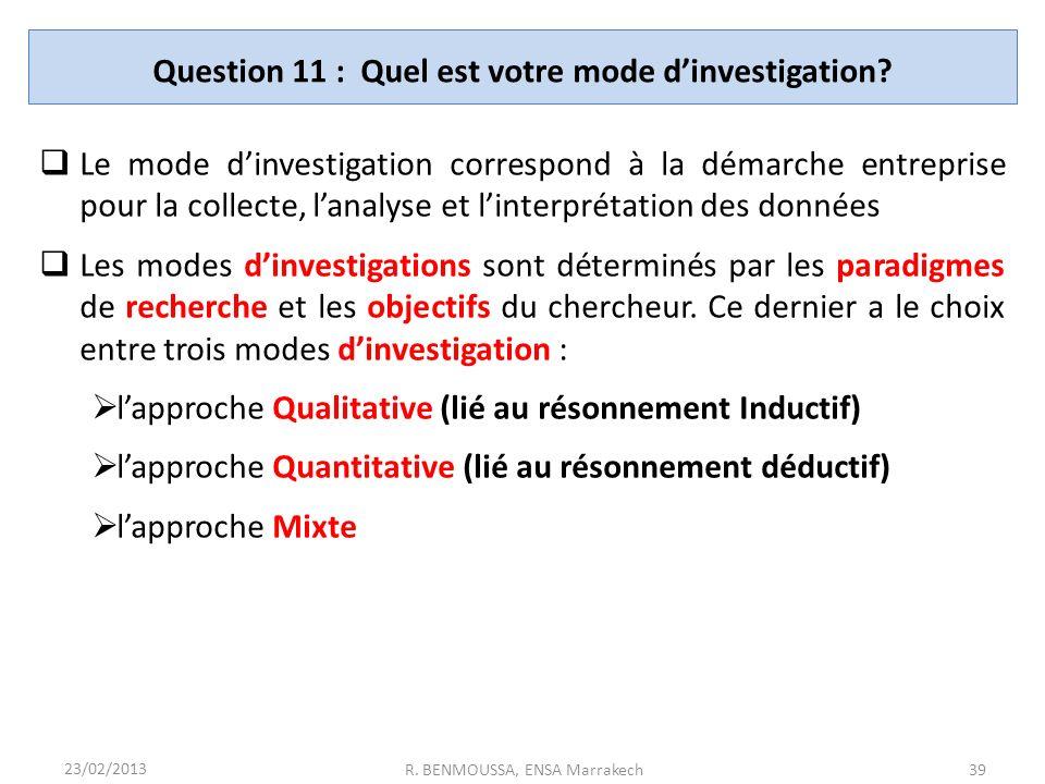 Question 11 : Quel est votre mode d'investigation