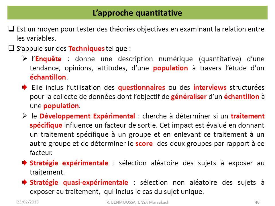L'approche quantitative
