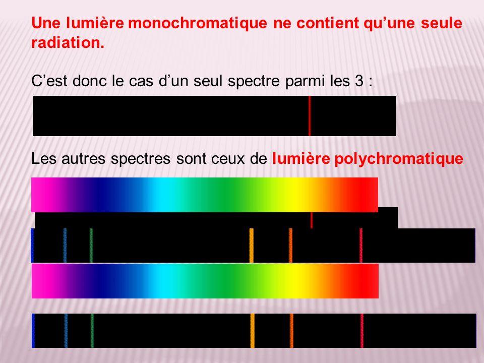 Une lumière monochromatique ne contient qu'une seule radiation.
