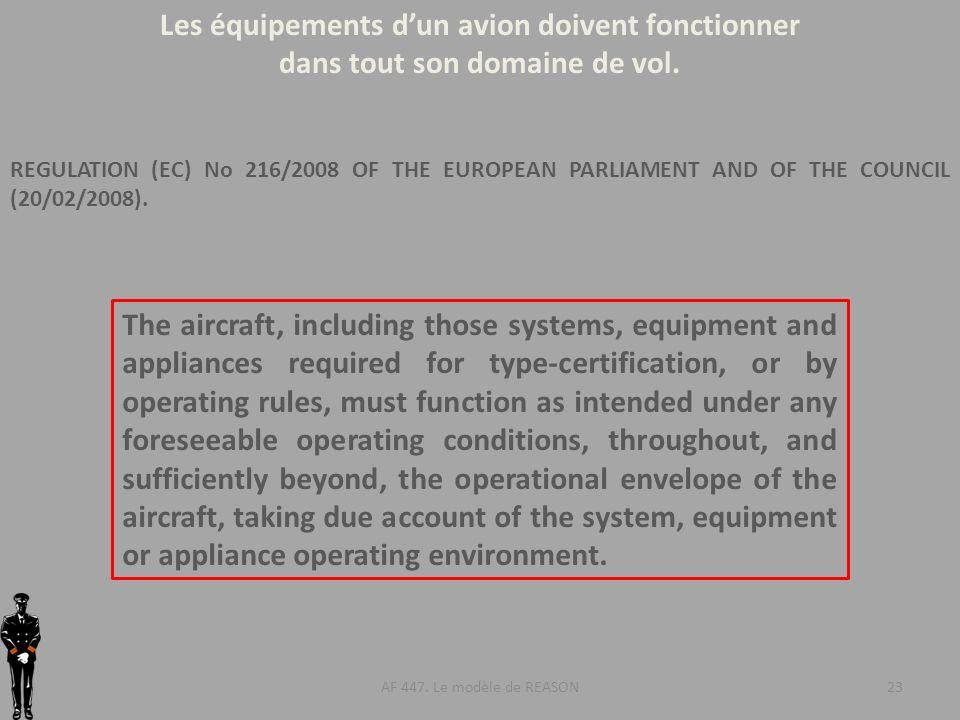 Les équipements d'un avion doivent fonctionner
