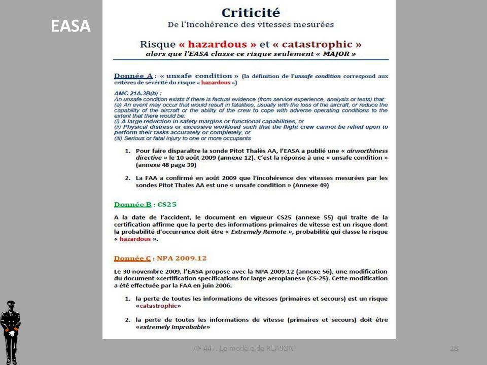 EASA AF 447. Le modèle de REASON