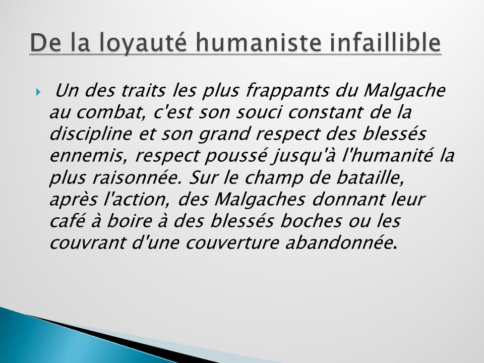 De la loyauté humaniste infaillible