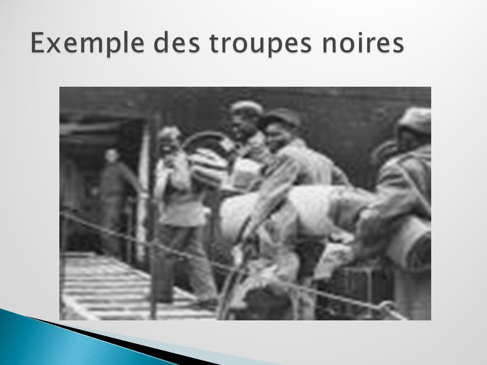 Exemple des troupes noires