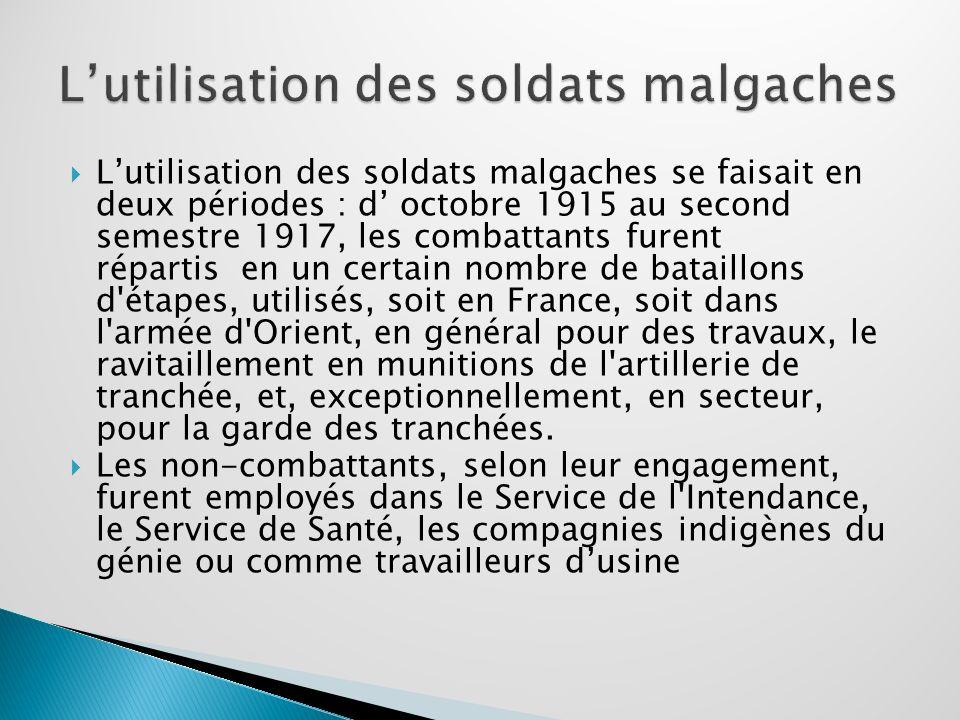 L'utilisation des soldats malgaches