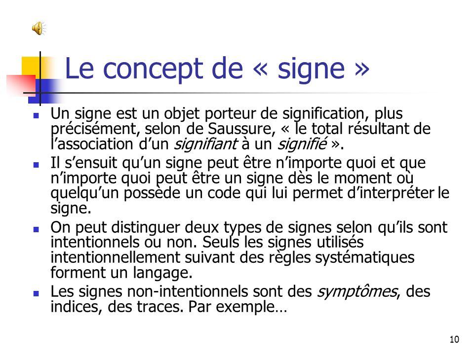 Le concept de « signe »