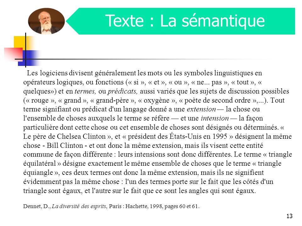 Texte : La sémantique