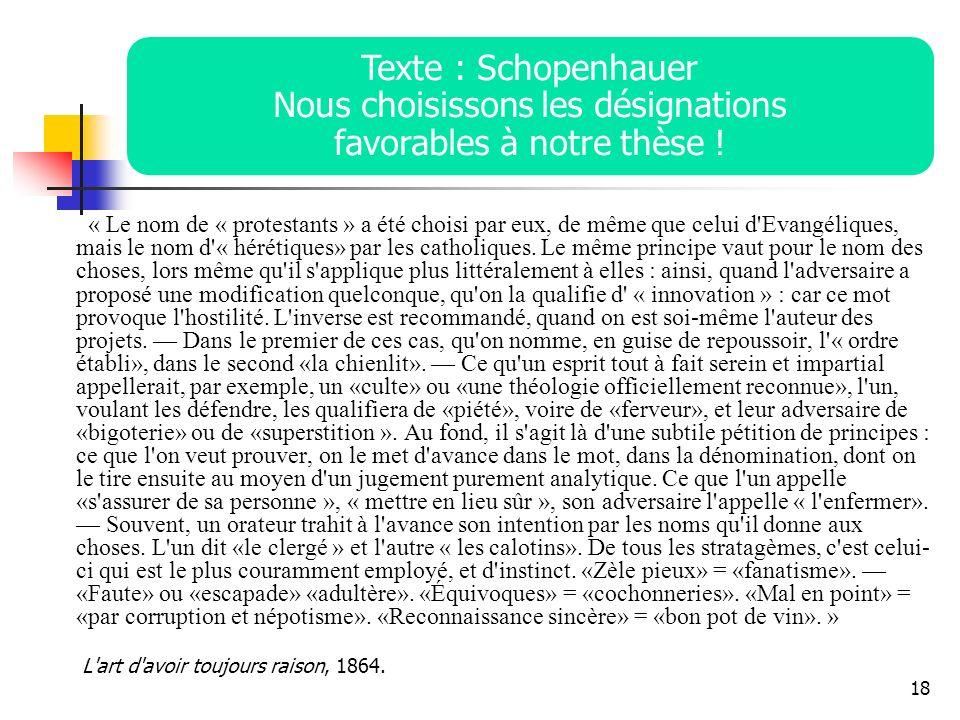 Texte : Schopenhauer Nous choisissons les désignations favorables à notre thèse !