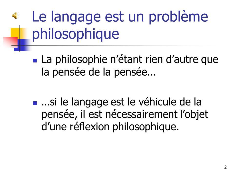 Le langage est un problème philosophique