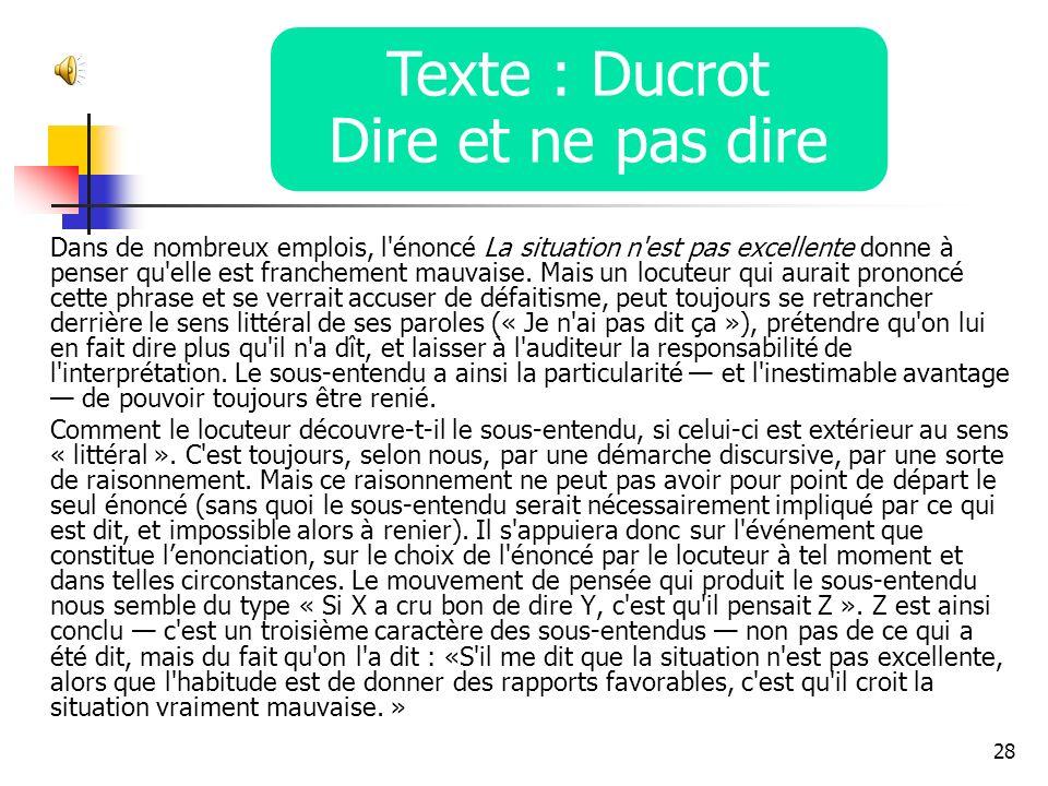 Texte : Ducrot Dire et ne pas dire
