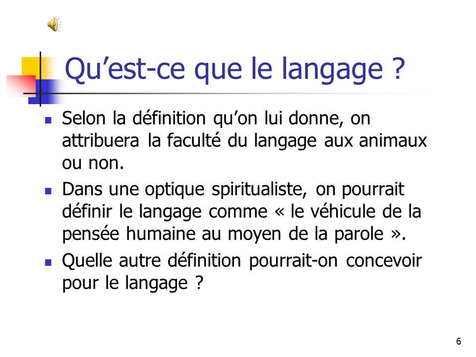 Qu'est-ce que le langage