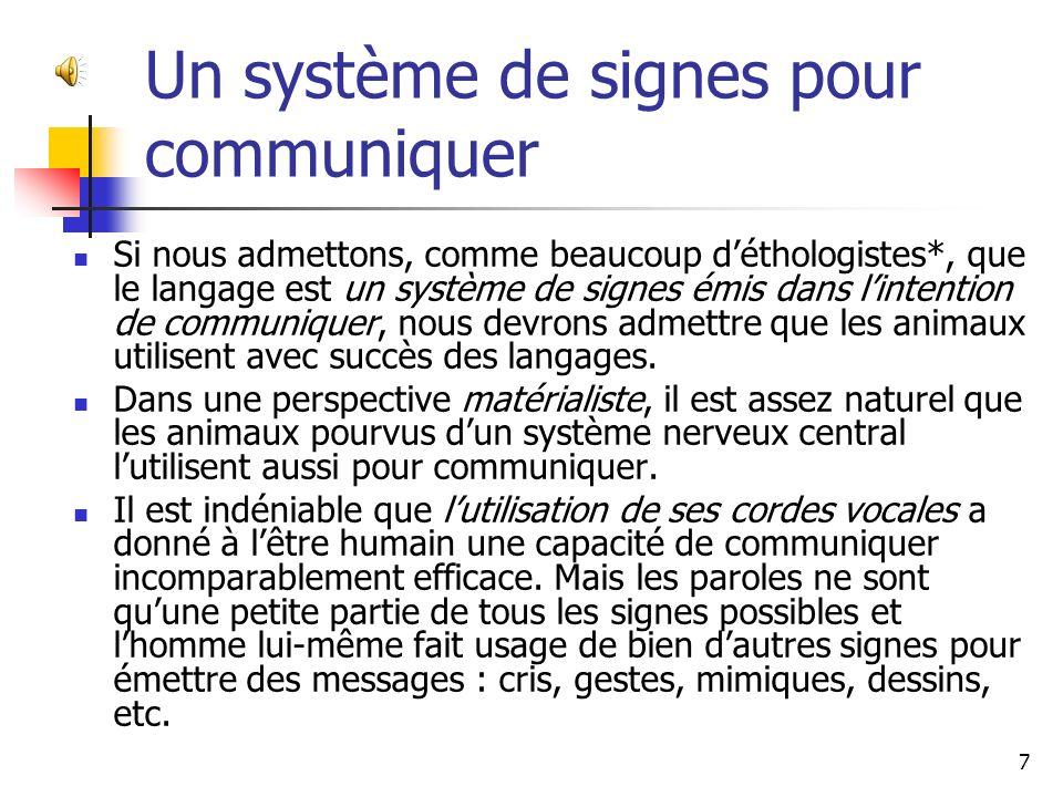 Un système de signes pour communiquer