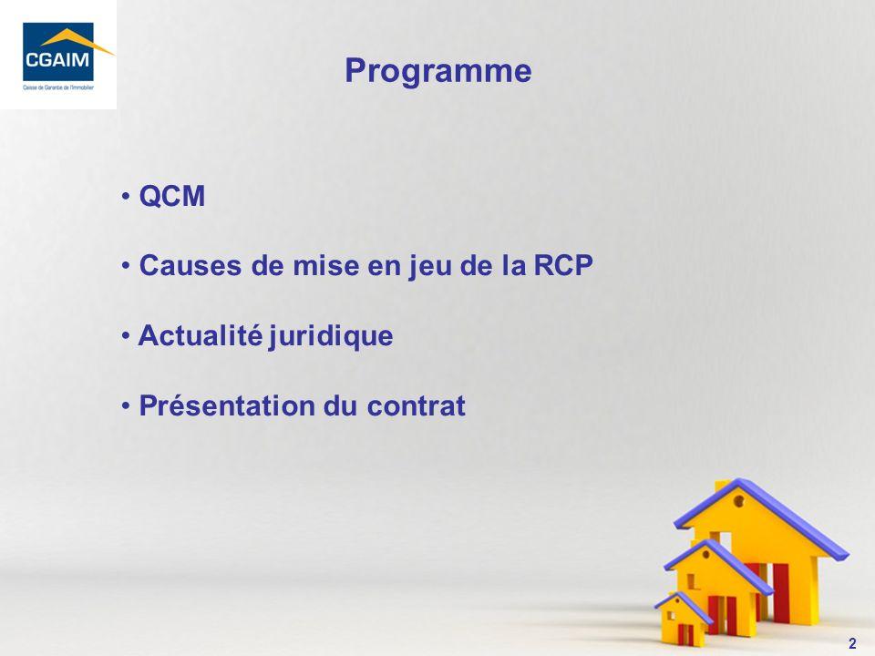 Programme QCM Causes de mise en jeu de la RCP Actualité juridique