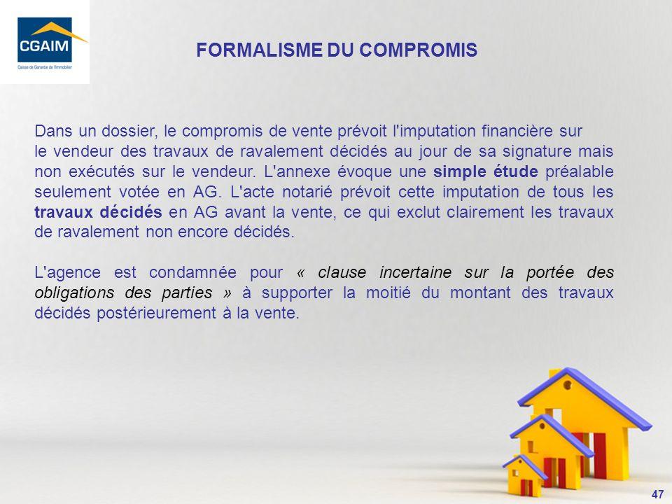 FORMALISME DU COMPROMIS