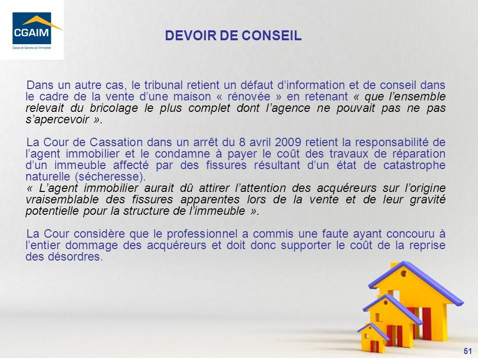 DEVOIR DE CONSEIL