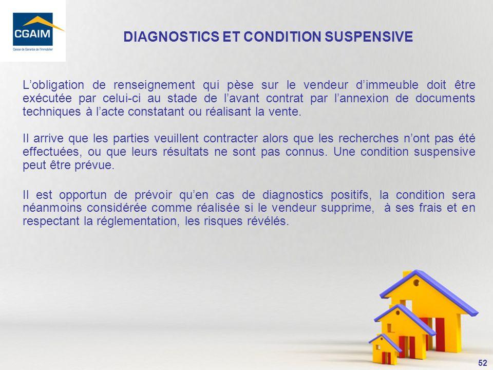 DIAGNOSTICS ET CONDITION SUSPENSIVE