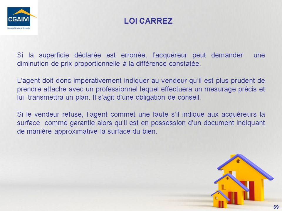 LOI CARREZ Si la superficie déclarée est erronée, l'acquéreur peut demander une diminution de prix proportionnelle à la différence constatée.