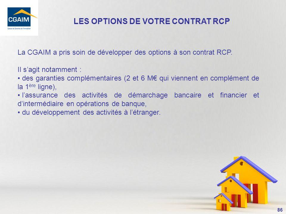 LES OPTIONS DE VOTRE CONTRAT RCP